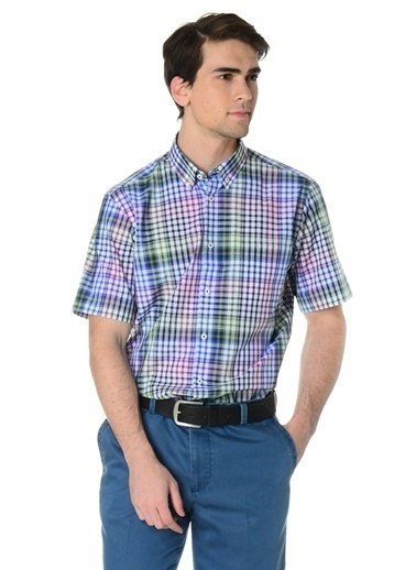 Cotton Bar Kısa Kollu Kareli Gömlek Mavi